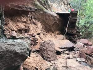 Rock slide closures in Zion National Park
